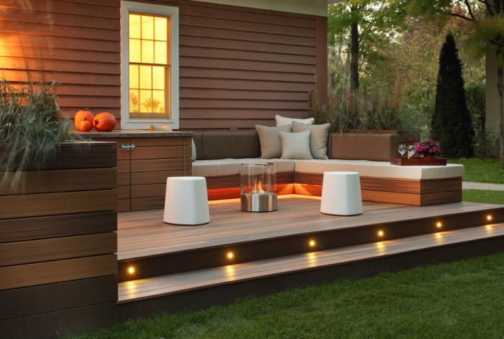 small wooden patio design