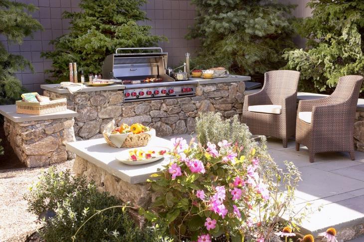 small outdoor kitchen patio design