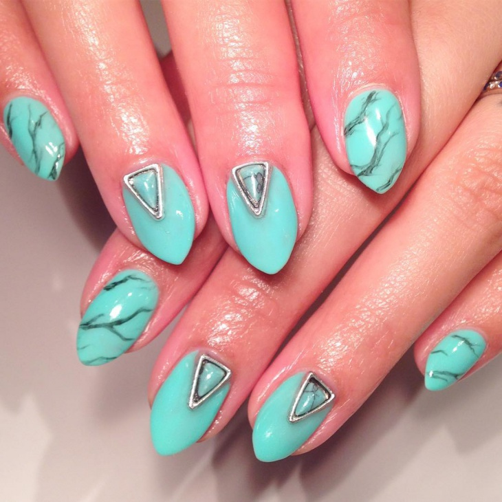 Turquoise Gel Nails Design
