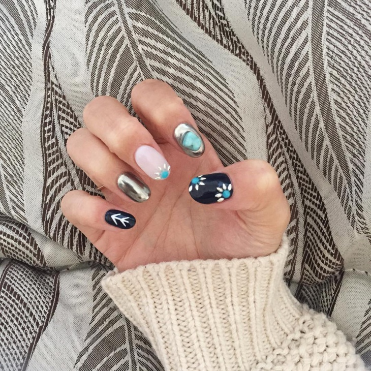 Unique Turquoise Nail Art Design