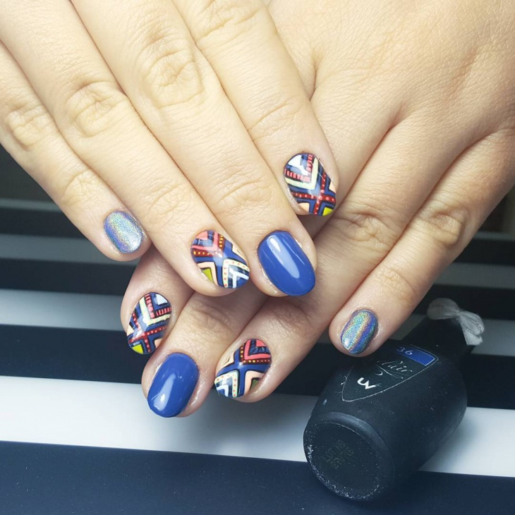 Beautiful Aztec Nail Art Design