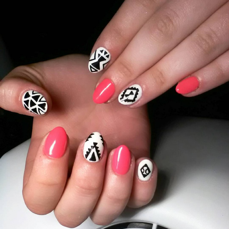 cool aztec nail art design
