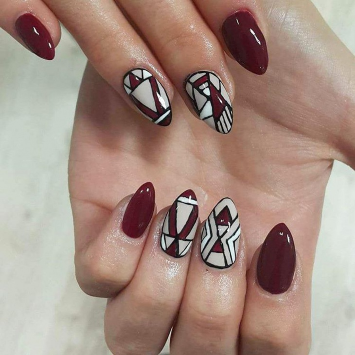aztec nail art for long nails
