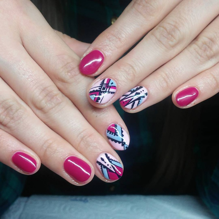 elegant aztec nail design idea