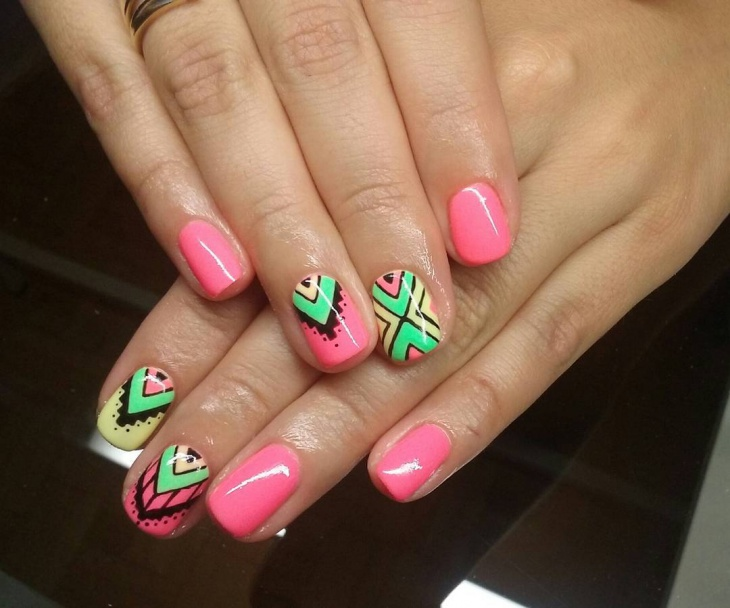 colorful aztec nail design