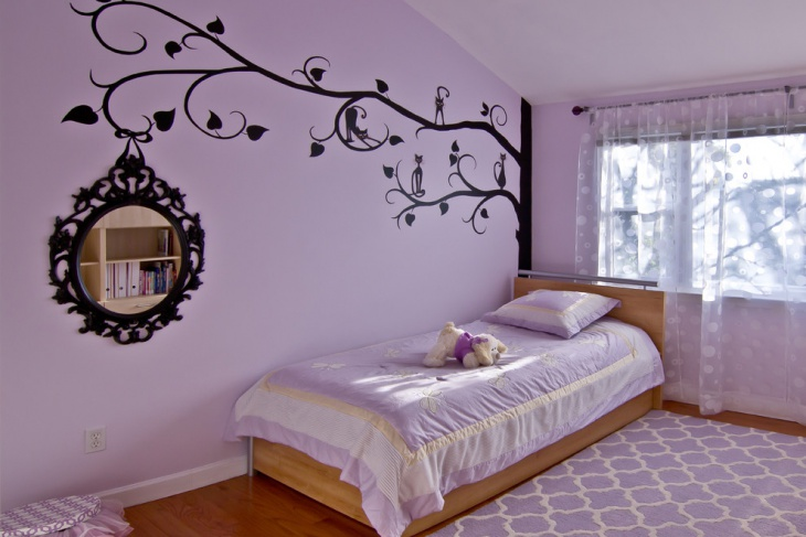 Purple and Black Wall Design for Kid's Room