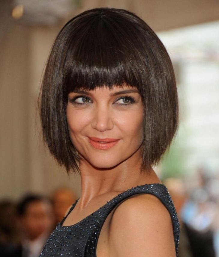 Katie Holmes Bob Hairstyle with Bangs