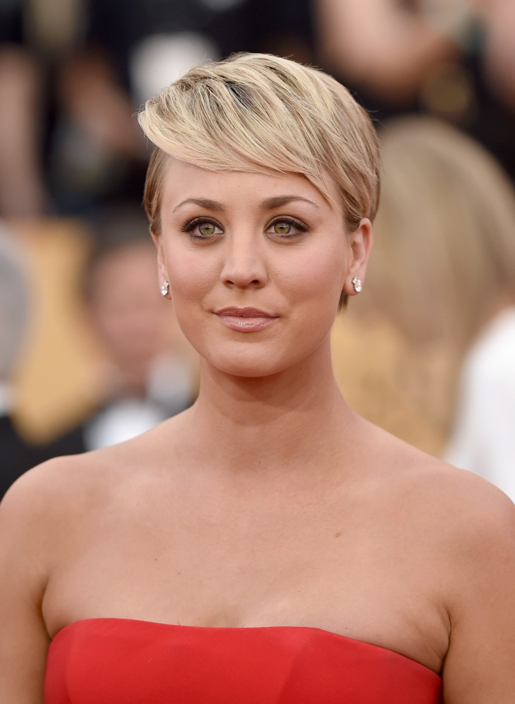 kaley cuoco pixie bang hairstyle idea