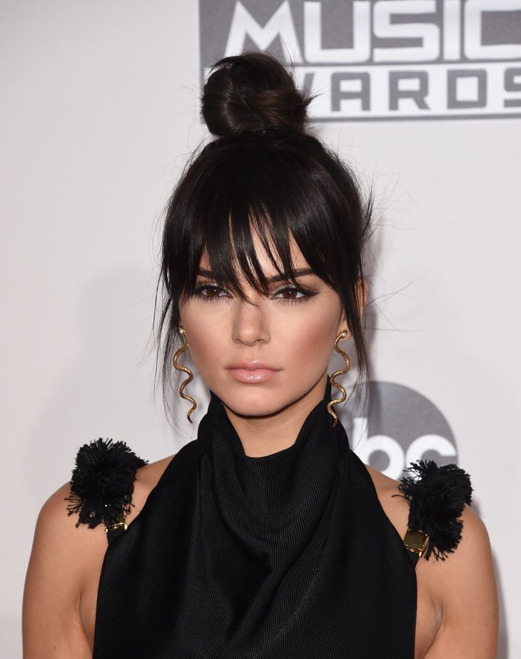 Kendall Jenner Updo Hairstyle with Bangs