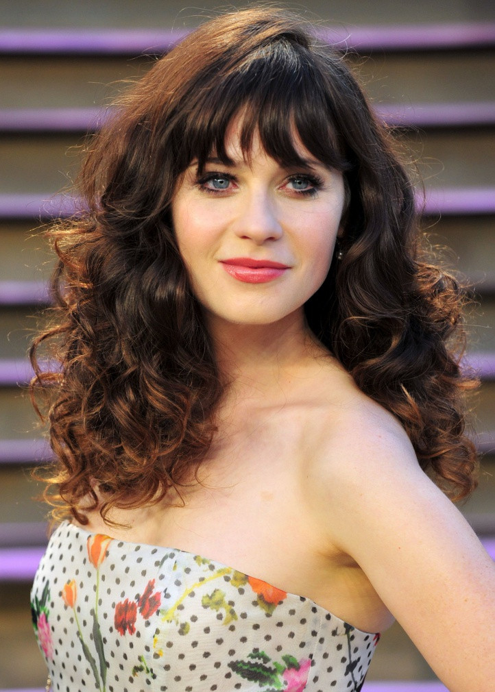zooey deschanel curly hairstyle with bangs1