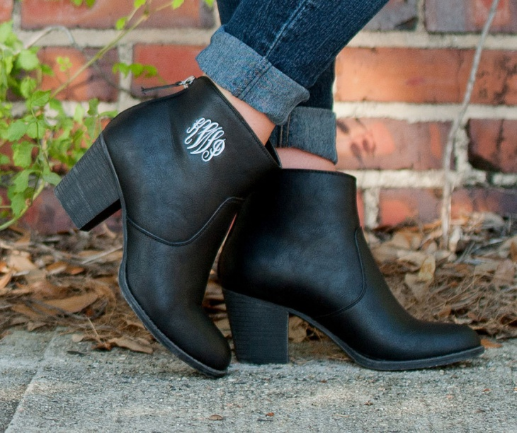 black monogram ankle boots