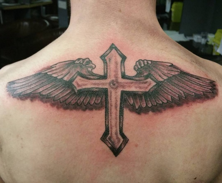 Full Wings Cross Tattoo