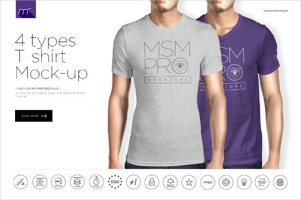 T-Shirt Mock-up 4 Types Psd Download