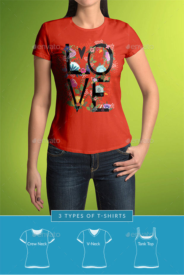3 Types of Mock-up T-shirts Psd Download