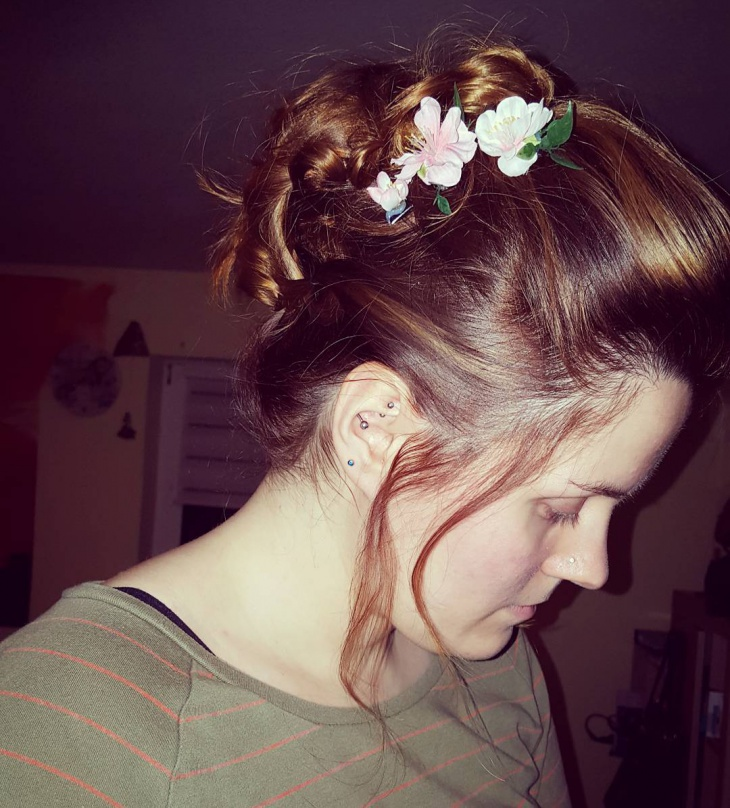 medium long curly updo hairstyle