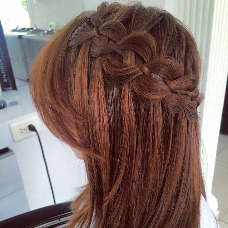 side braided colored haircut