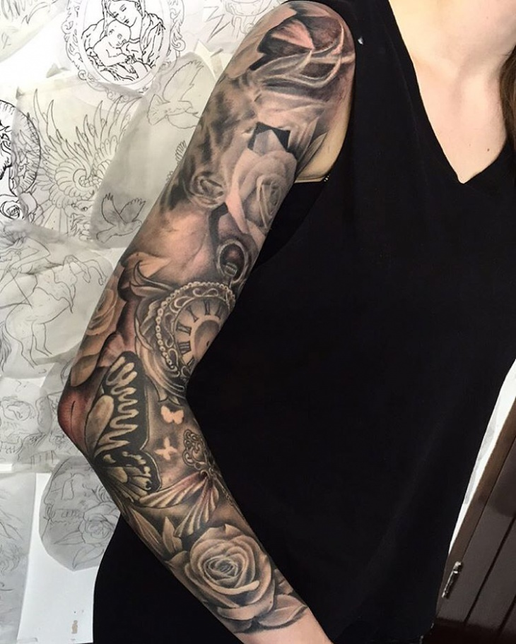 girly sleeve tattoo design