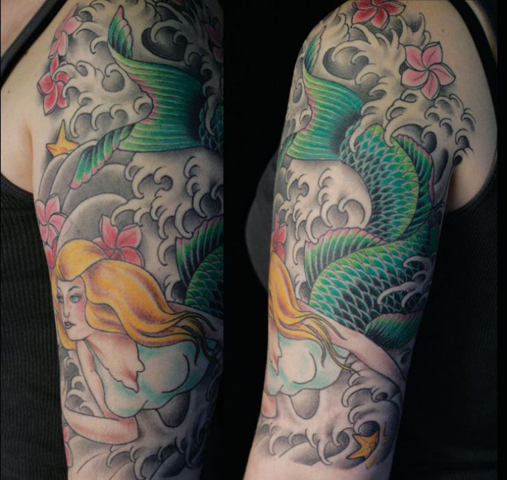 mermaid tattoo design on sleeve