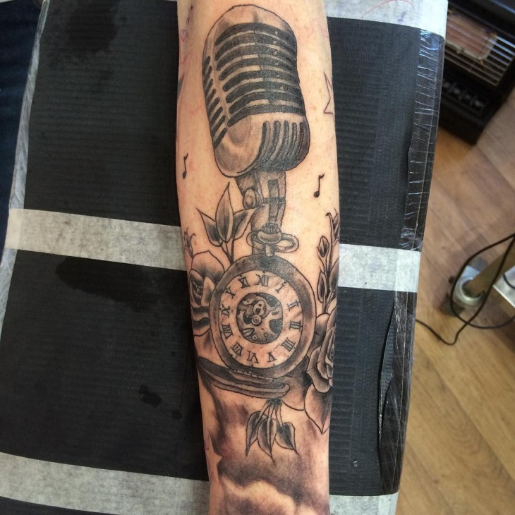 musical instrument sleeve tattoo