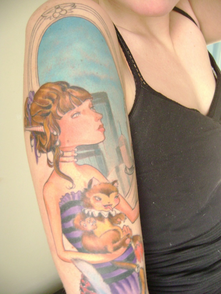 girl tattoo on sleeve1