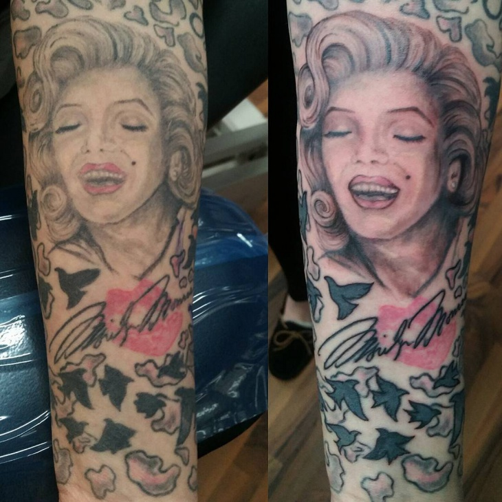 marilyn tattoo design for girls