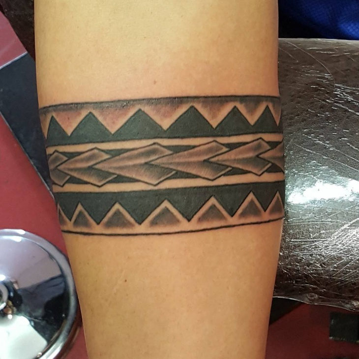 black n grey tribal band tattoo design