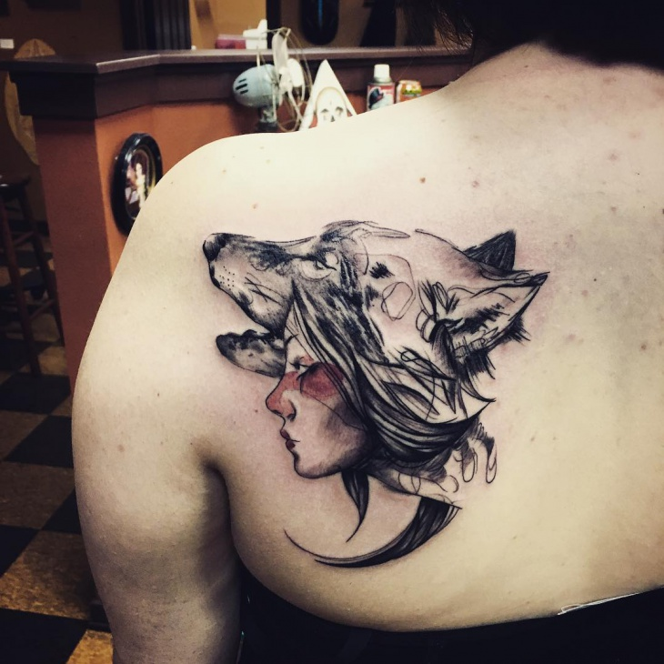 Creative Wolf Tribal Tattoo Design