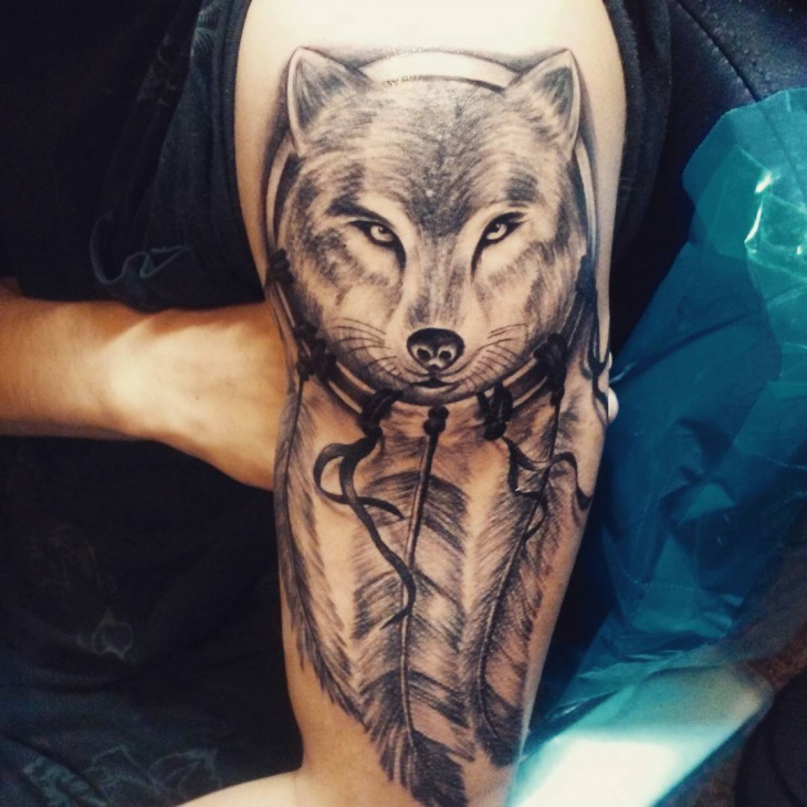 Wolf Tribal Tattoo on Hand