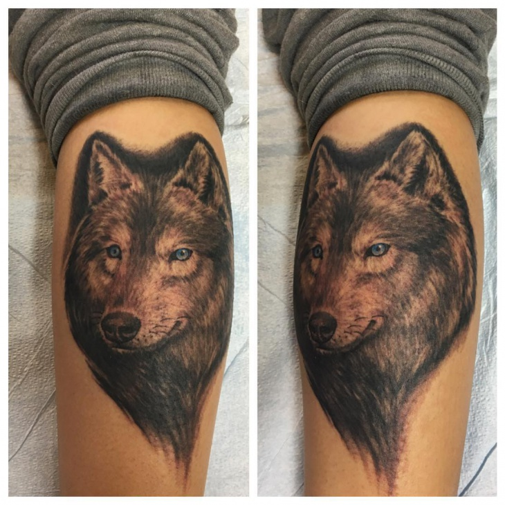 Realistic Wolf Tribal Tattoo