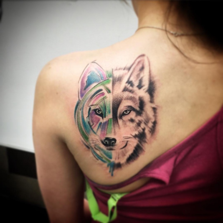 trendy wolf tribal tattoo1
