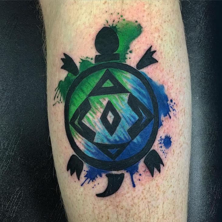 Painted Tribal Turtle Tattoo Design