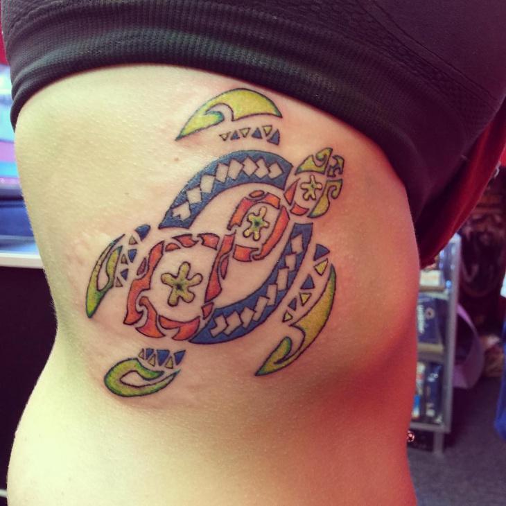 female tribal turtle tattoo on hip1