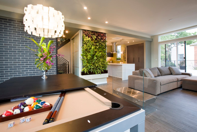modern family room with indoor garden