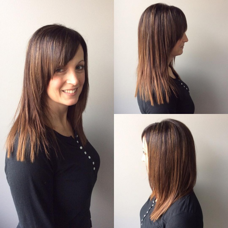 Medium Length Layered Haircut With Bangs