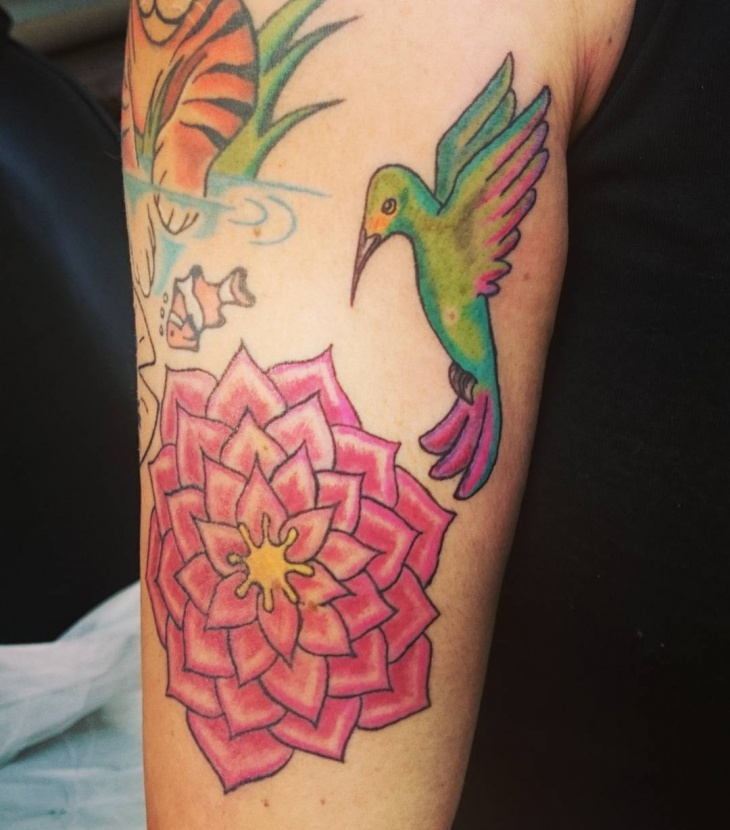 half sleeve bird and flower tattoo design