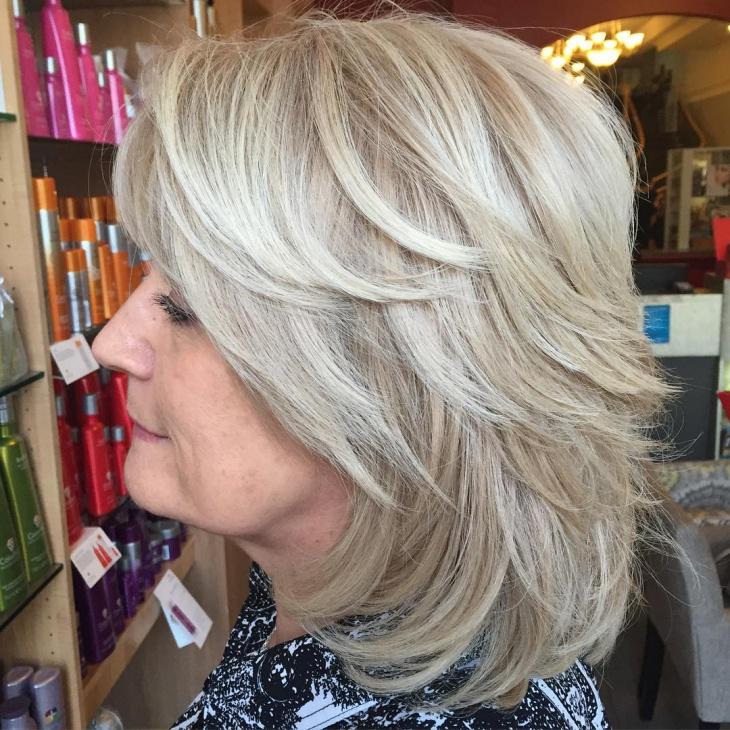 white layered shag haircut design