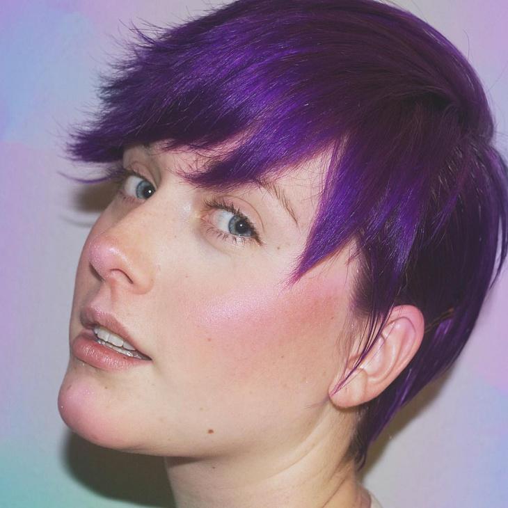 purple colored shaggy bob haircut