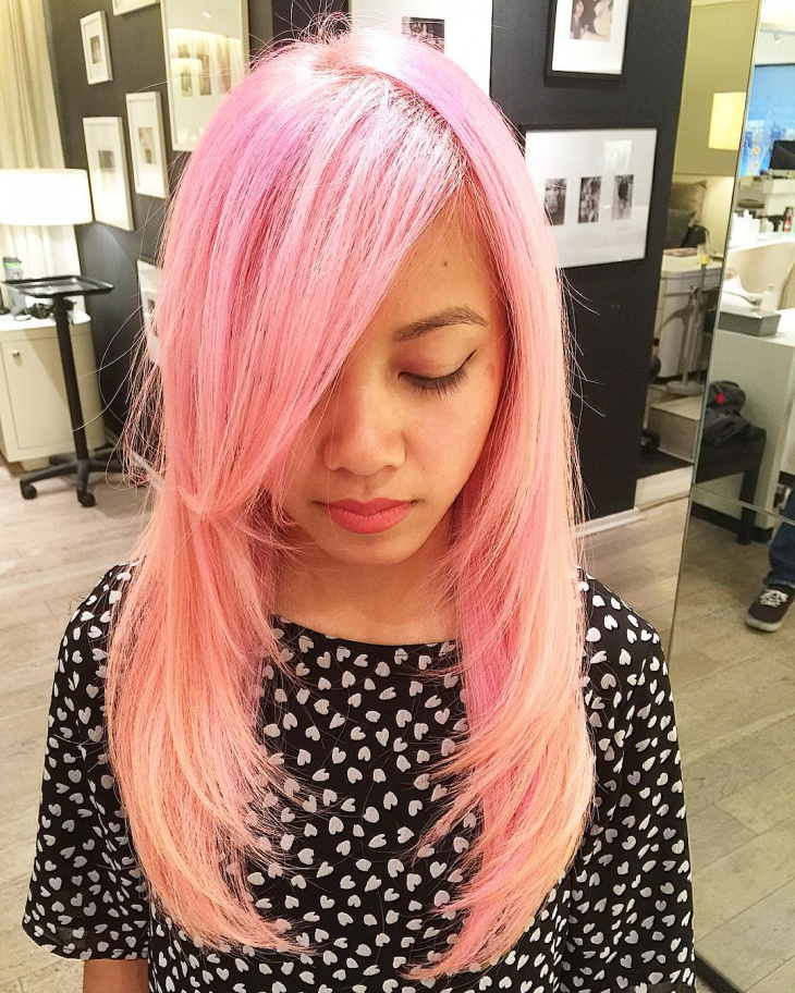 Pretty Pink Layered Hairstyle
