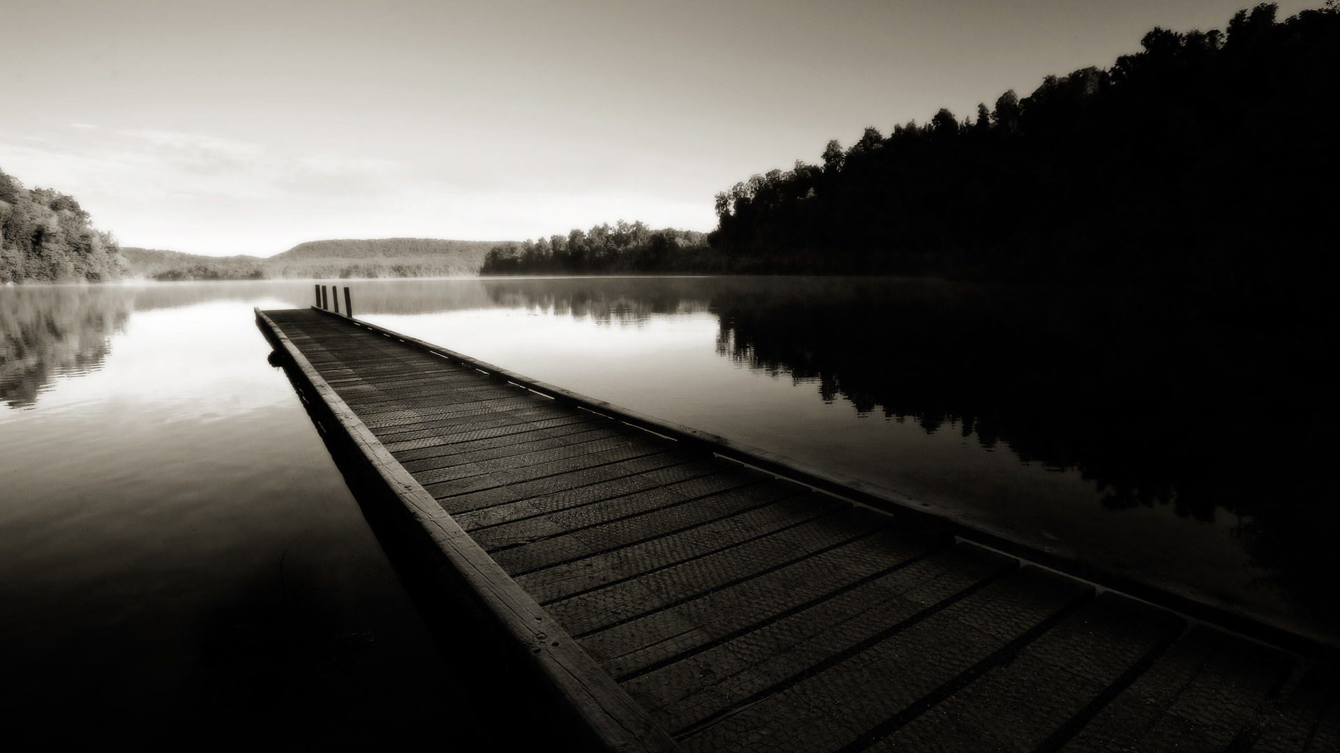 black and white lake background