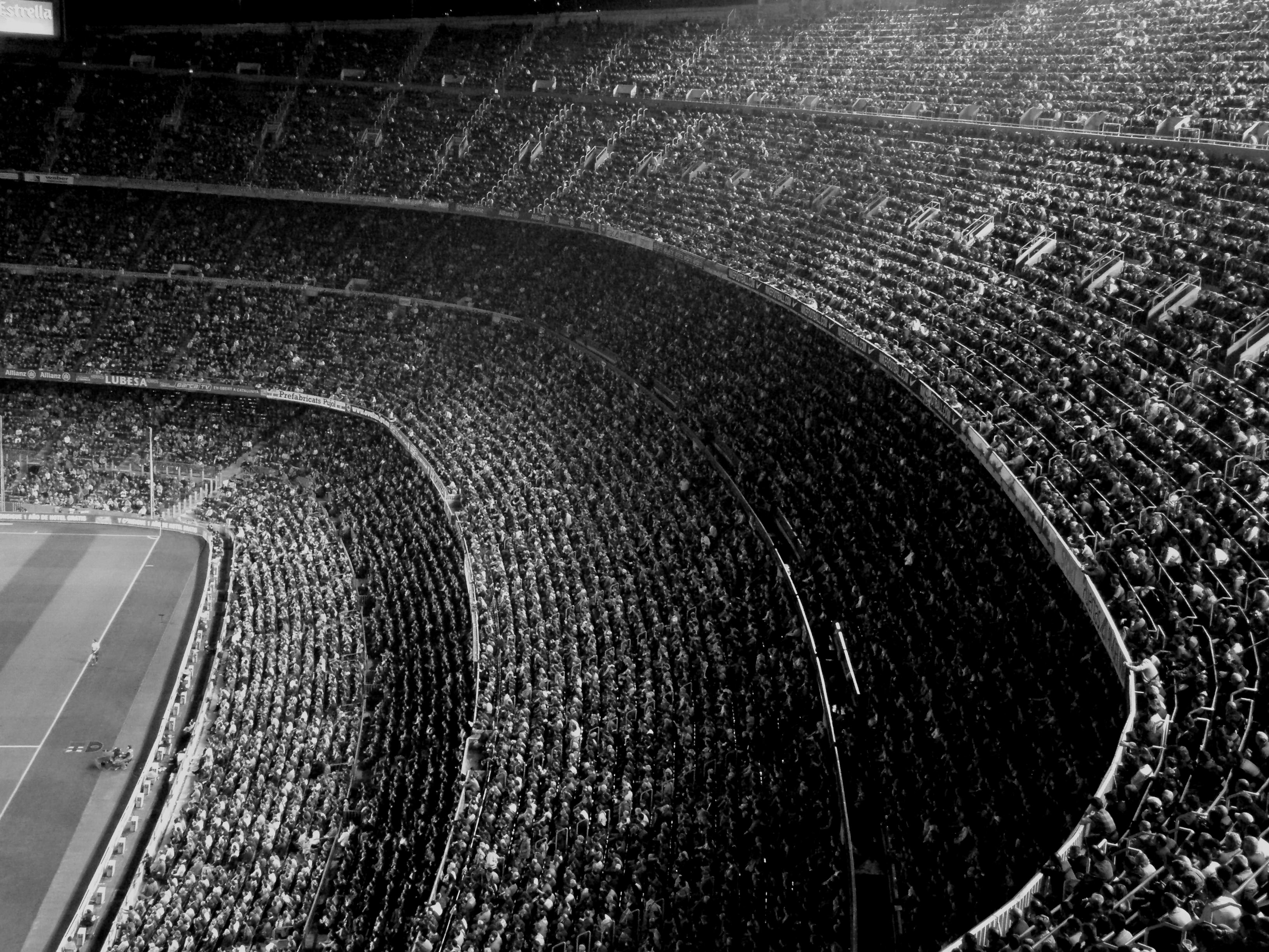 black and white stadium background