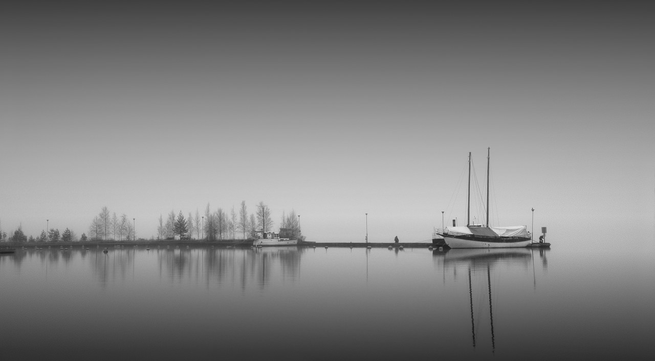 Black and White Dock Background