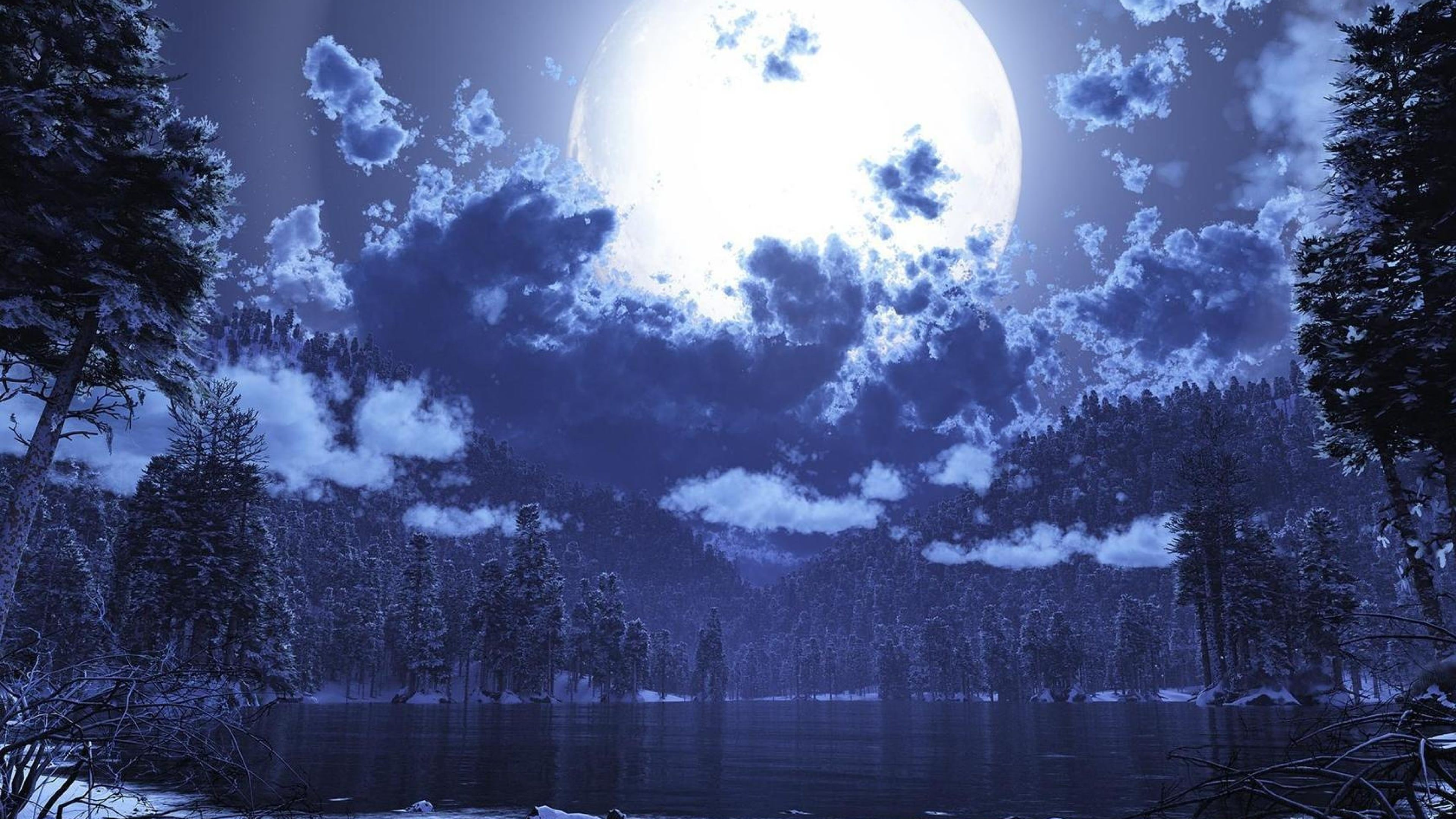 Lake View Moon Background