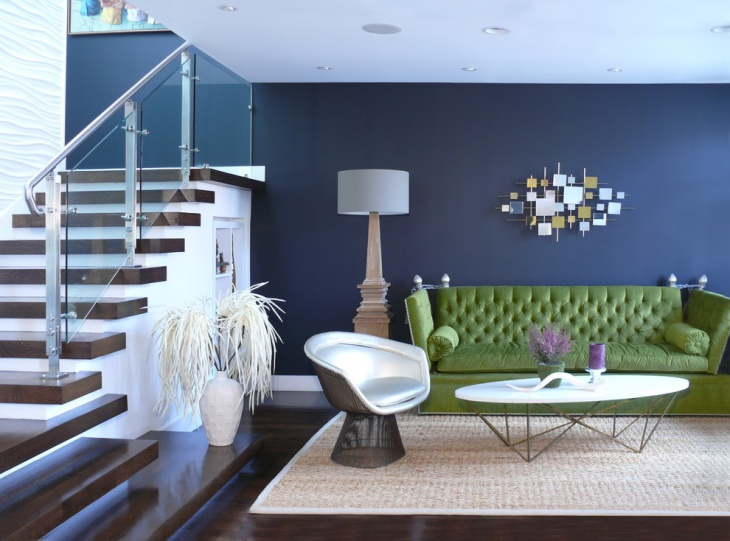 Dark Blue Living Room Wall Color Idea.