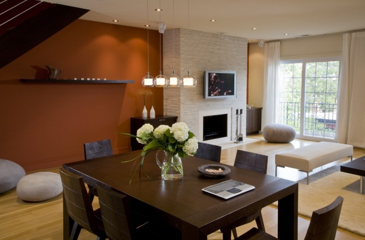 Orange Colored Living Room Wall Design.