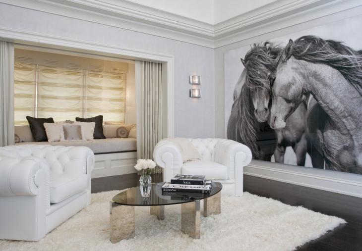 Contemporary Family Room Horses Art