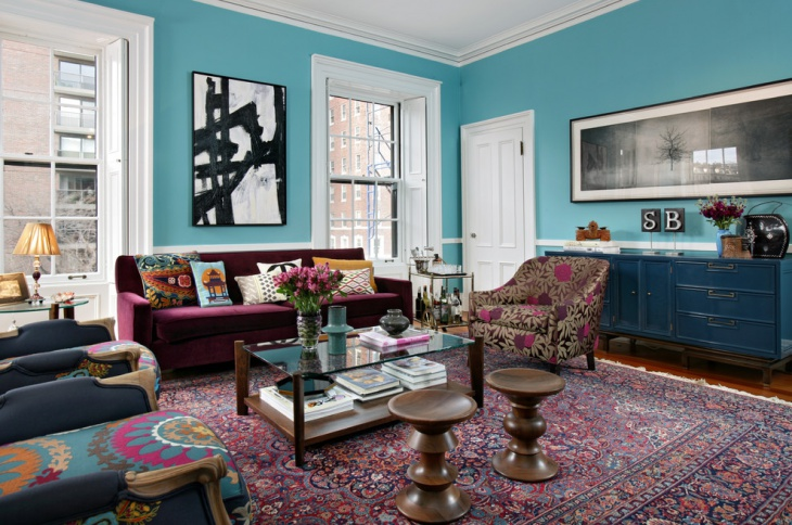 eclectic blue living room design
