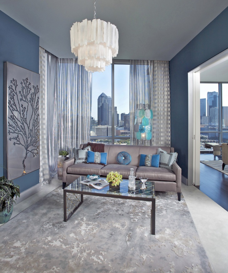 blue chic living room idea