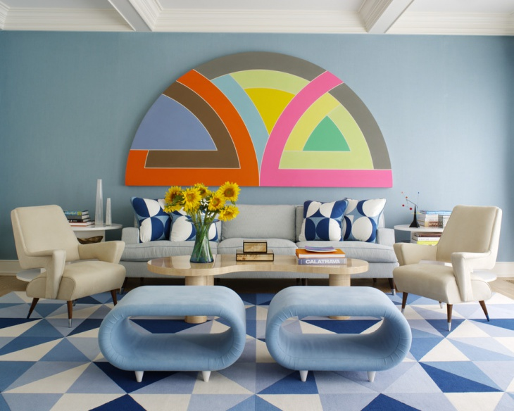 light blue mid centuary living room design