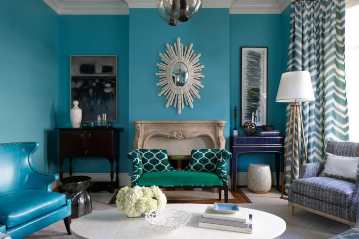 amazing living room in blue color