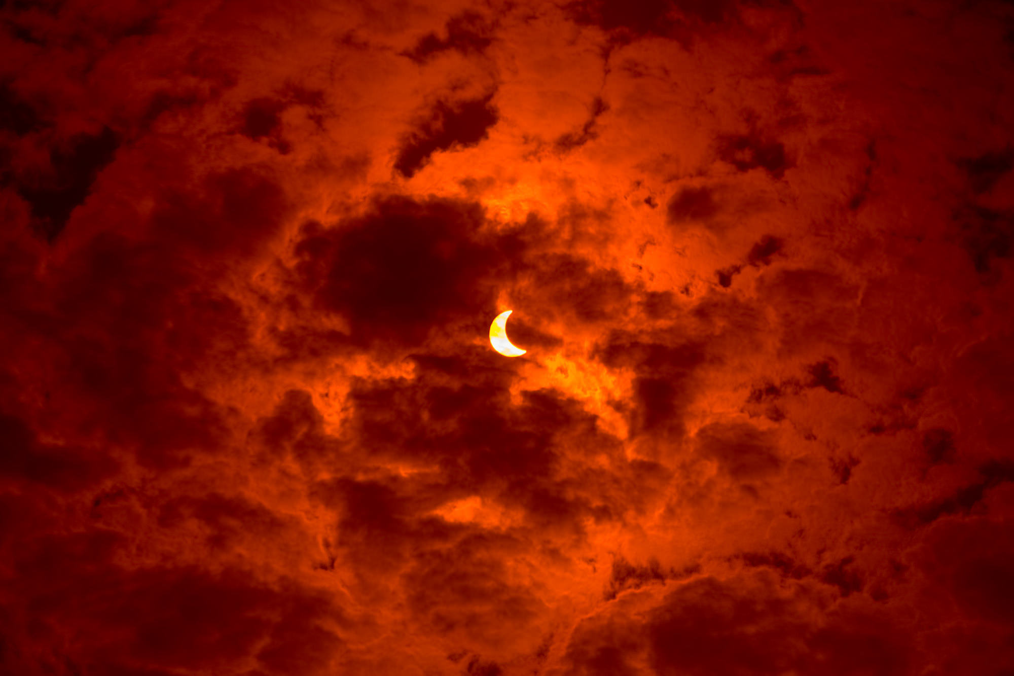 Cloudy Sky Crescent Background